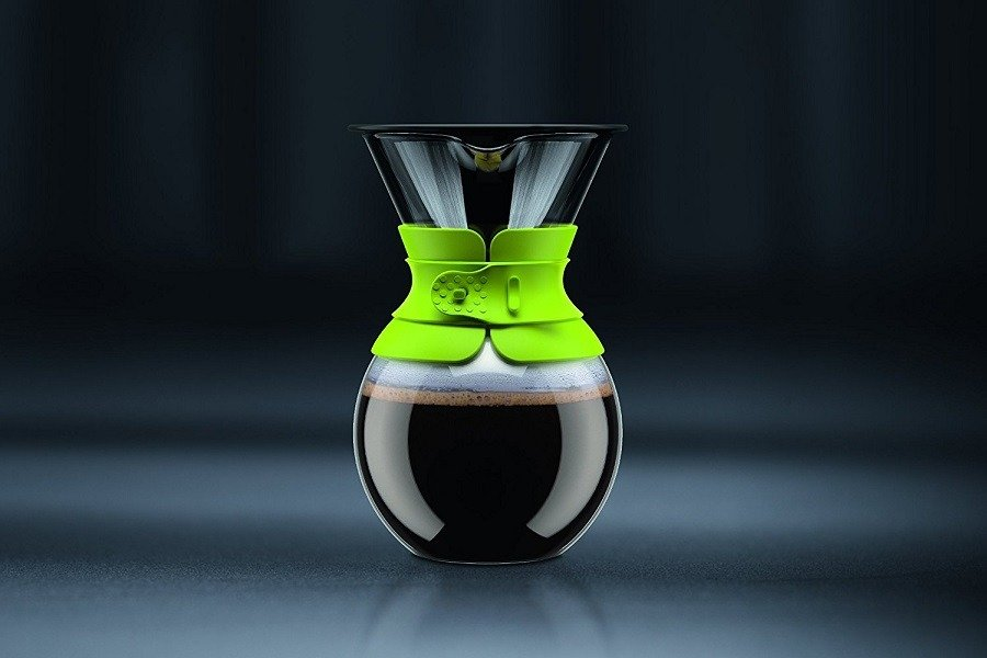 Green Bodum Pour Over Coffee Maker On a Blackish Background