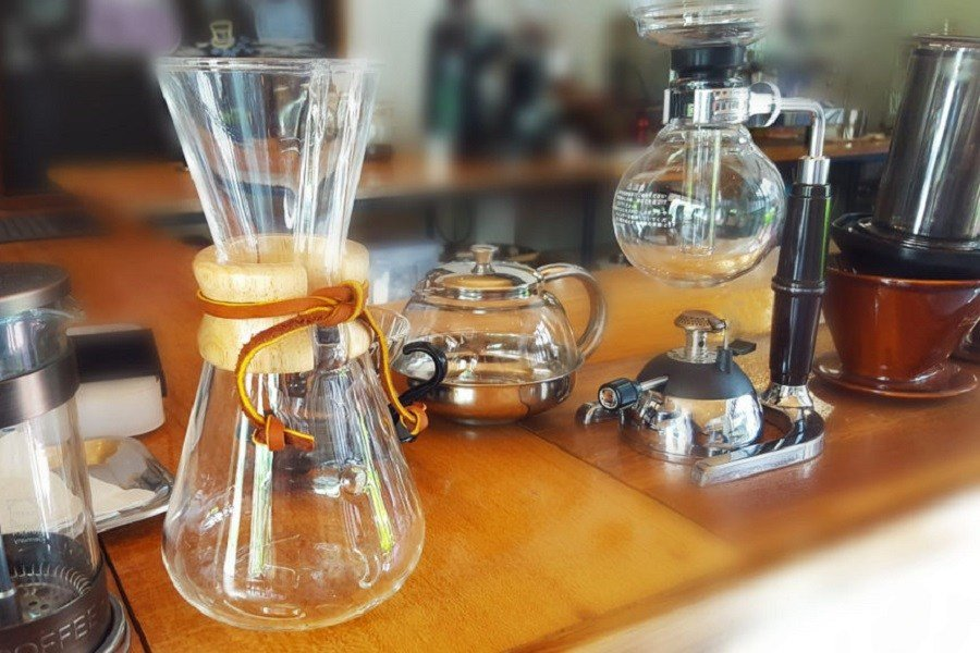 Different Coffee Brewing Methods on a Kitchen Counter