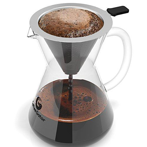 Coffee Gator Pour Over Coffee Maker with Coffee Dripping