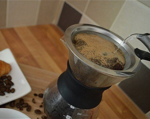 Pouring Water into Premium Pour Over Drip Coffee Maker