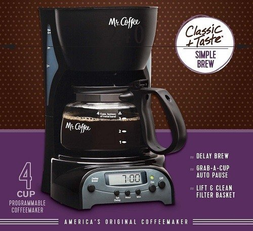 Mr. Coffee 4-Cup Programmable Coffeemaker, DRX5 Classic Taste And Simple Brew