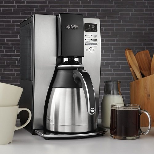 Mr. Coffee Optimal Brew 10-Cup Thermal Coffeemaker System, PSTX91 on a Kitchen Counter