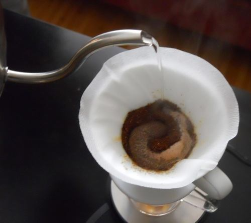Making Pour Over Coffee Through a White Filter