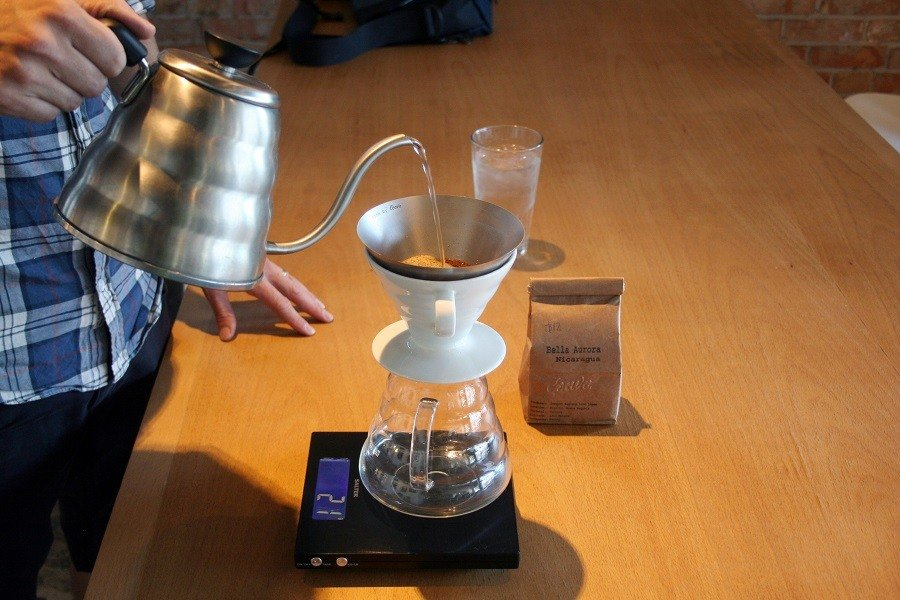 A Person Making a Batch of Pour Over Coffee