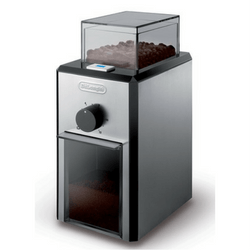 DeLonghi Stainless Steel Burr Coffee Grinder On White Background