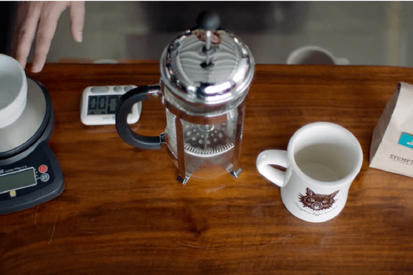 French Press, Scale, Timer, coffee beans, coffee mug