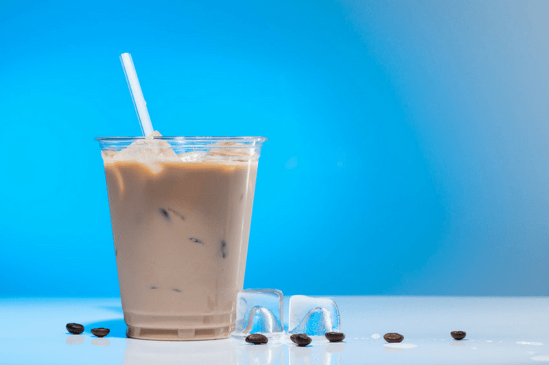 Iced Coffee With Blue Background