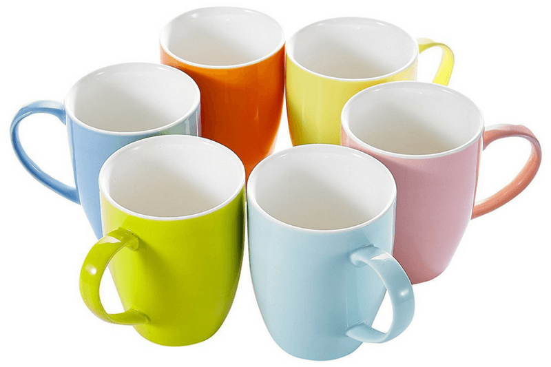 Six Colored Porcelain Coffee Mugs