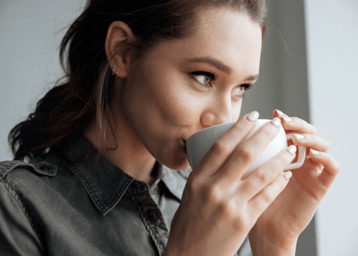 Girl Drinking Morning Coffee