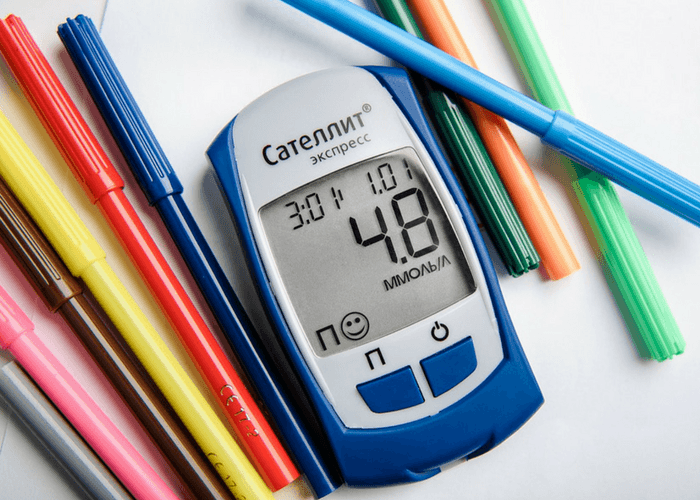 Diabetes Meter And Colored Pens