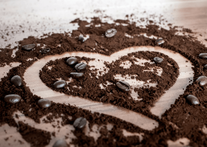 Heart Drawn In Ground Coffee