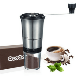QcoQce Manual Coffee Grinder - Adjustable Hand Grinder