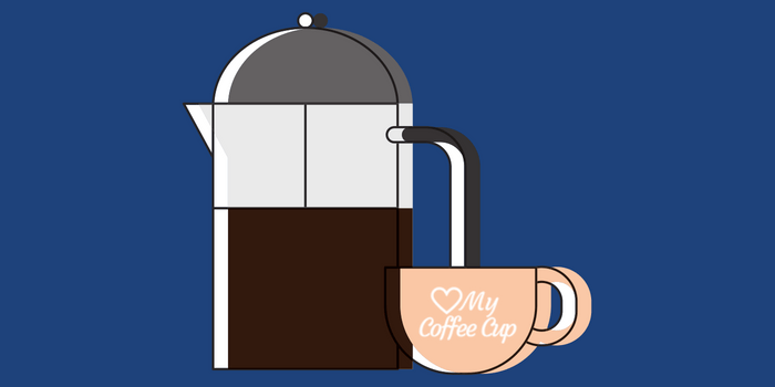 French Press And Coffee Cup On Blue Background