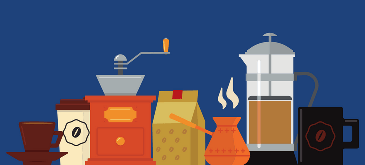 Equipment to Make Fresh Coffee On Blue Background