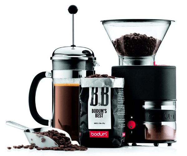 Black Bodum Coffee Grinder With A French Press And Bodum`s Best Beans