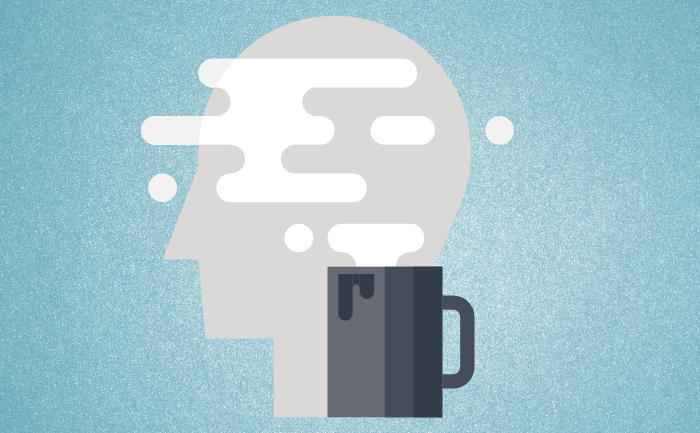 Image Of A Brain With A Nitro Coffee Cup