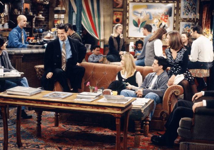 The Friends Cast Sitting In Coffee Shop