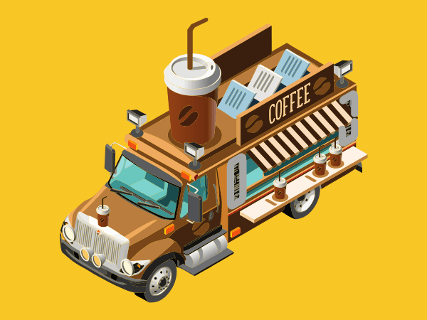 Drive-By Coffee Truck On Yellow Background