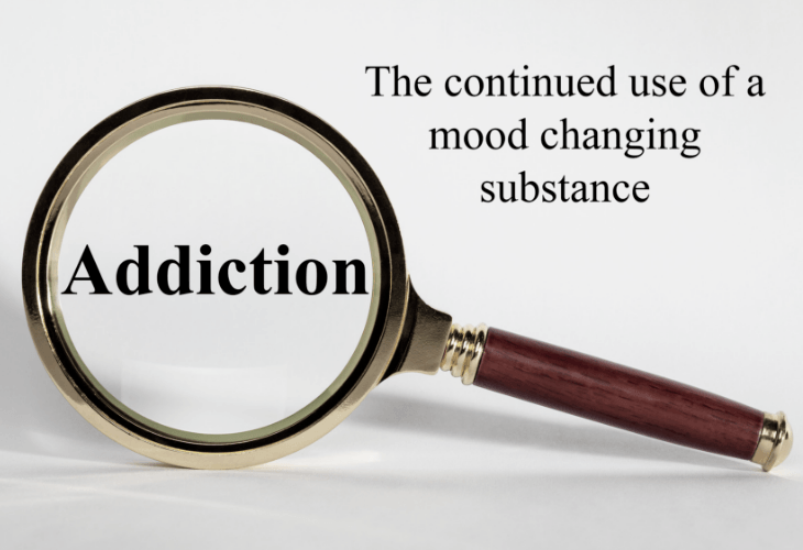 Addiction sign reading the continued use of a mood changing substance
