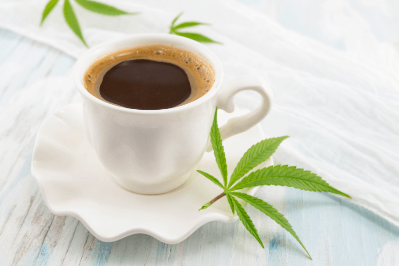 Medical marijuana and coffee on a white background