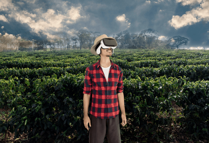 Young man viewing coffee plantation with virtual reality glasses