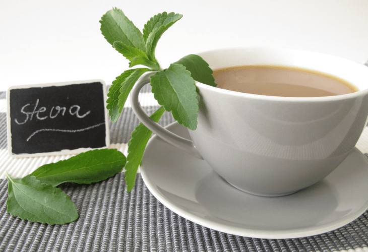 Coffee with stevia added with nameplate