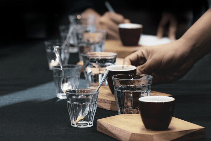 Coffee tasters at a professional event