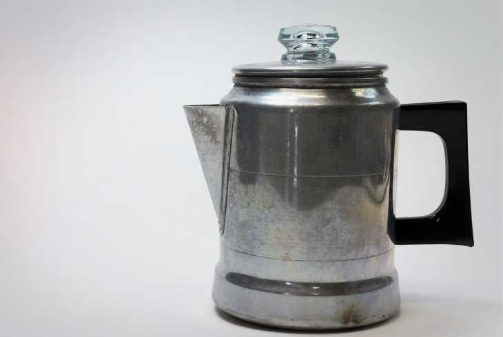 Old used coffee percolator