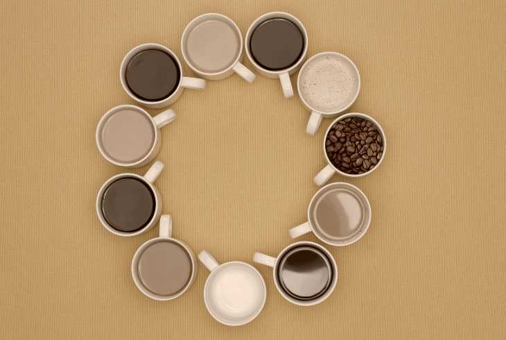Eleven different coffee styles in a circle