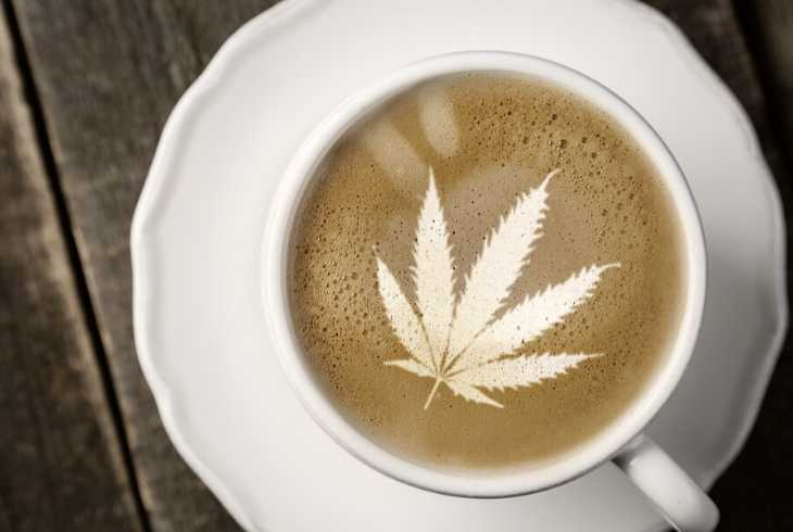 cannabis latte art in cup