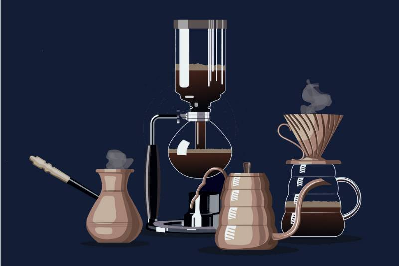 Different brewing equipment depicting coffee machine history
