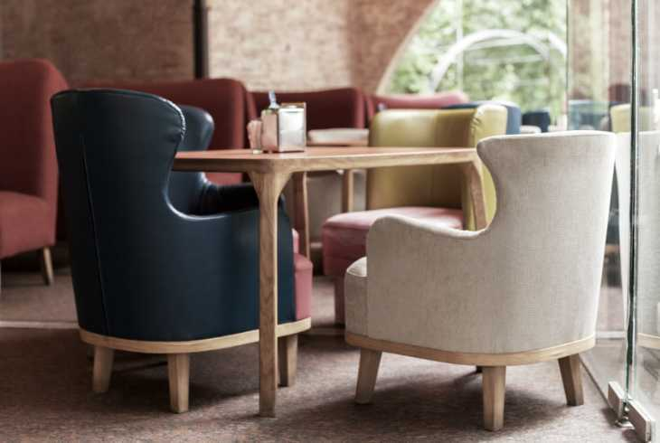 Modern furniture in a coffee shop